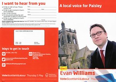 Labour Scottish Election Leaflet, 2011 (Scottish Political Archive) Tags: party scotland election williams scottish labour publicity paisley campaign 2011