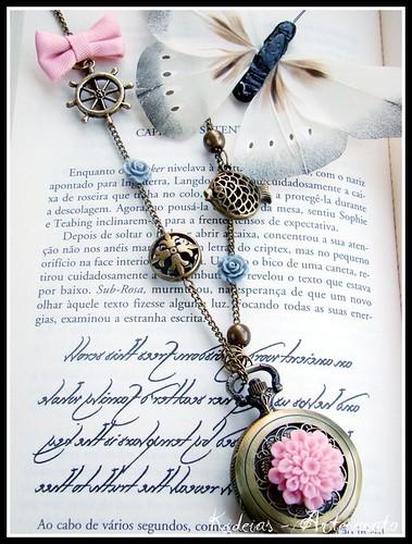 "Colar - relógio "" rosa"" by kideias - Artesanato"