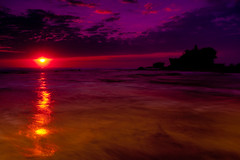The day ends (zoomion) Tags: ocean blue sunset red sea bali black beach temple stream purple stones lot wave cluds tanah