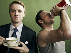 How to Be A Gentleman promotional show showing David Hornsby who plays tea-drinking Andrew Carlson, a genteel etiquette columnist, and Kevin Dillon portrays milk-guzzling Bert Lansing, the infectiously optimistic owner of a fitness center.