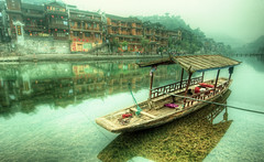 Still Waters in the Old Town (Stuck in Customs) Tags: china travel plant history water digital buildings river photography harbor boat town blog high still ancient october asia republic village dynamic stuck traditional culture historic unesco east photoblog software processing historical gondola imaging prc division range hdr province tutorial trey travelblog hunan customs 2010 dwellings  ratcliff  xiangxi hdrtutorial stuckincustoms treyratcliff xing photographyblog peoplesrepublicofchina fenghuangcounty stuckincustomscom  nikond3x  hnn shng xingxtjizmiozzzhzhu xiangxitujiaandmiao  fnghungxin soetop50spotsfordaydreamers