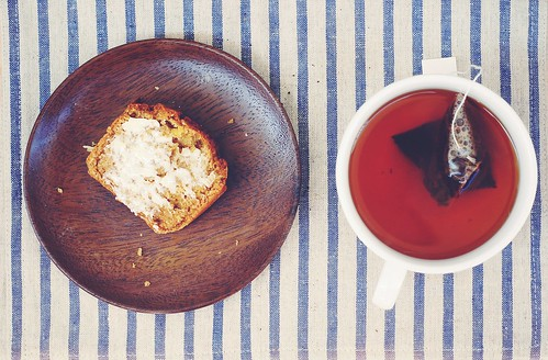 sweet potato coconut quickbread & marron glace tea
