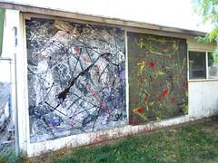Two pieces from Sept 19 & 20  2011 (stevenascroggins) Tags: original abstract thread glitter modern acrylic contemporary yarn cardboard scroggins