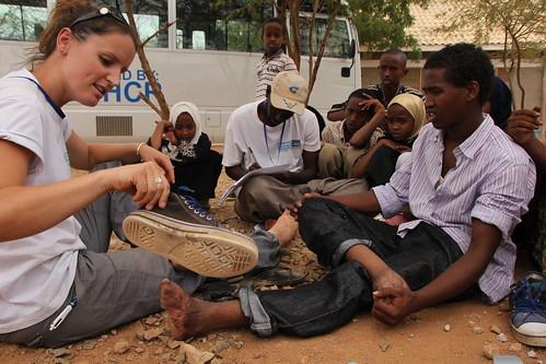 IMG_9521 Handicap International workers with Somali teenager at dadaab refugee camp