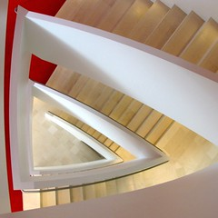 Stairs (Lord Jezzer) Tags: red white geometric architecture stairs gold triangle angle geometry perspective down diagonal staircase kauffmancenter bestcapturesaoi doublyniceshot doubleniceshot elitegalleryaoi humbleofferingofhumbility artistoftheyearlevel3 artistoftheyearlevel4 artistoftheyearlevel5 typicallackofhumanity artistoftheyearlevel7 artistoftheyearlevel6