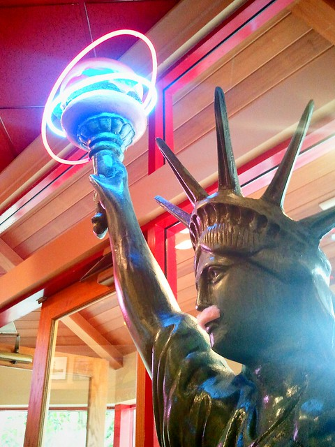 Lady Liberty with pink derby mustache