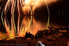 Finally! Awesome! (R J Ruppenthal) Tags: ocean blue red orange color green yellow festival silver harbor colours pentax fireworks harbour britishcolumbia flames celebration vancouverisland gulfislands streaks sparks explosive ladysmith ruppenthal pyrotechnics k7 pyrotechnic lightsmoke crowdwatching ladysmithdays vancouverislandphotographer showandshinenoise