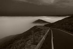 The Road to Nowhere - 1 (fksr) Tags: california blackandwhite fog night clouds stars marinheadlands hawkhill blackwhitephotos conzelmanroad