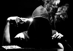 I smoke, then I committed  suicide! (Saleh Mohammed) Tags: lighting white man black canon eos secret smoke suicide smoking puzzle mohammed weapon shooting ambiguity saleh   d600       ismoke