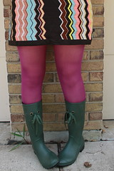 Rainboots, magenta tights, Missoni for Target dress