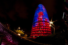 Torre Agbar by Night (Audrey Meffray) Tags: city light tower night canon rouge torre tour purple tag fisheye bleu espana 8mm espagne torreagbar barcelone lumires agbar barceona cataluna catalogne canon450d samyang8mmfisheye samyang8mm samyag onnamusha