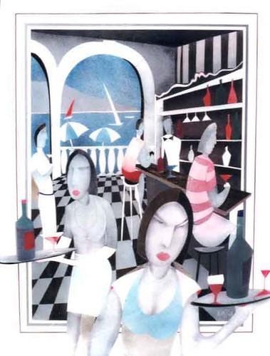 Mediterrenan Cafe - Painting Original - Plexigass