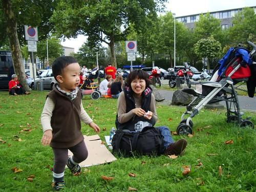 在萊茵公園草皮野餐