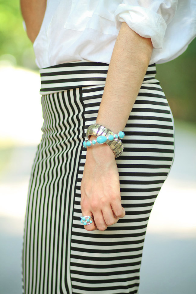 Stripe Maxi Skirt, Asos White Blouse, Asos pumpkin heels, Ippolita Scultura Turquoise Jewelry, John Hardy Silver Tiger Cuff, Fashion outfit