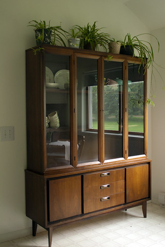 midcentury modern danish-style china hutch + credenza