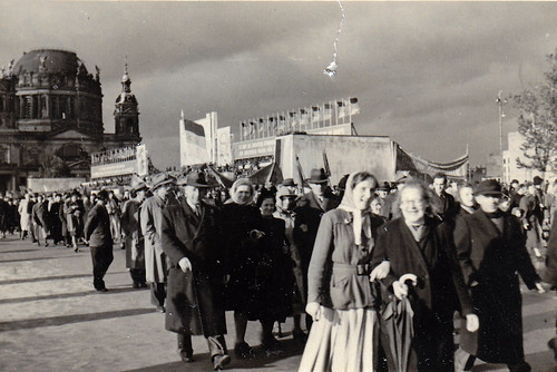 Parade near Berlin Cathedral, (Berliner Dom), Berlin. 7th October 1952. 3rd anniversary of the GDR.