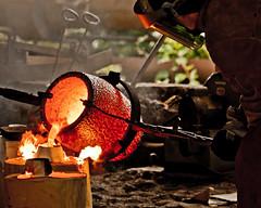 molten bronze (f.larkin) Tags: hot industry bronze fire iron artist industrial glow steel weld flame smokestacks heat melt grime furnace sparks ladel relic molten ironore sloss blastfurnace slossfurnaces metalarts