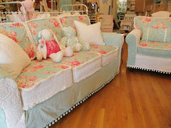 shabby chic sofa couch and chair vintage chenille bedspread slipcover white aqua roses (vintagechicfurniture) Tags: pink baby white vintage pom aqua furniture antique cottage couch sofa crib romantic prairie chic trim bedspread chenille daybed shabby