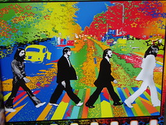 Beatles Abbey Road Album Cover - Psychedelic Rendering (Don n Kathy's Stream) Tags: art beatles abbeyroad barefeet psychedelic thebeatles kansascitymissouri plazaartfair abbeyroadstudios johnpaulgeorgeringo abbeyroadalbumcover fall2011