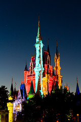 Magic Kingdom - Castle in the Woods (SpreadTheMagic) Tags: castle colors night you dusk magic memories kingdom disney wdw preshow projections