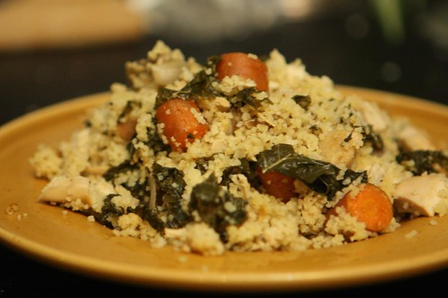 Leftover Chicken Couscous with Celeriac, Kale, Shallots, and Carrot