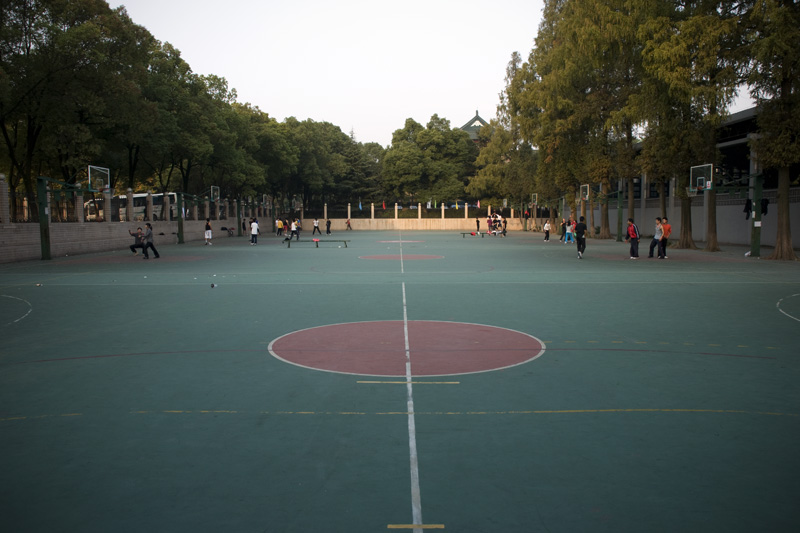 The outside portion of the basketball courts on campus (as referenced in the above caption).  When school is in session the courts are always jammed, unless it is shower/dinner time (yep, students need to show betwen 4-7).  The inside, let me just say covered, courts are in a little better shape but not much.  What I like about basketball in China is that students do not care how cold it is they will come a play in jeans and sweats when the snow is falling outside and you can see your breathe inside.