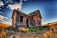 The old house in the golden grass (Fistfulofpowder) Tags: door old blue windows chimney sky sun house abandoned field grass clouds highway edmonton tripod fisheye alberta stmichael hdr highdynamicrange lowperspective 105mm 9exposures bruderheim nikond300s