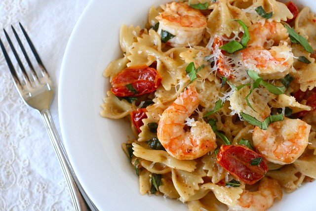 Shrimp Pasta with Oven Dried Tomatoes