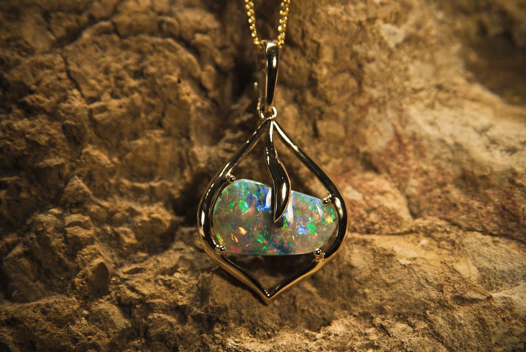 Jundah boulder opal set in exquisite 18k yellow gold pendant