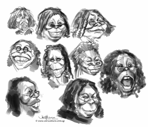 digital sketch study of Whoopi Goldberg