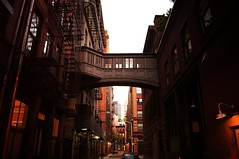 Staple Street Skybridge (Traverse), Tribeca, New York City (Vivienne Gucwa) Tags: nyc newyorkcity travel bridge red urban ny newyork architecture buildings evening dusk manhattan skybridge traverse urbanexploration staplestreet tribeca gothamist curbed gawker airwalk skyway pedestrianbridge urbanphotography skywalk newyorkpictures wnyc nycphoto tribecabridge cityphoto cityphotography newyorkphoto nycphotography newyorkcityphotography viviennegucwa viviennegucwaphotography scenicnewyork staplestreetnewyork staplestreetbridge bestplacesnewyork