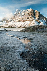 Frosty Morning (Ian McGillvrey) Tags: autumn lake canada mountains fall creek sunrise landscape alberta banffnationalpark icefieldsparkway bowlake canadianrockies crowfootmountain