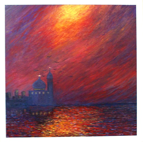 Sunset over the Masjed, 55x55 cm oil on canvas - by moslihh