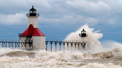 The Gales of September (St Joe's #2) (PhotoDocGVSU) Tags: lighthouse storm waves stjoseph gale lakemichigan greatlakes splash
