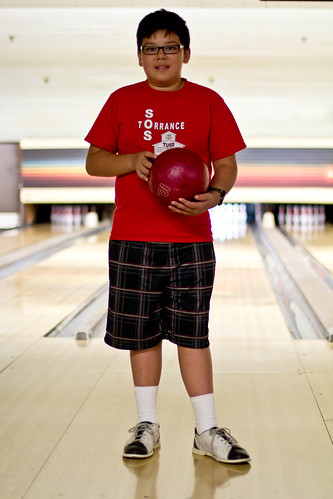 Tyler's bowling pose
