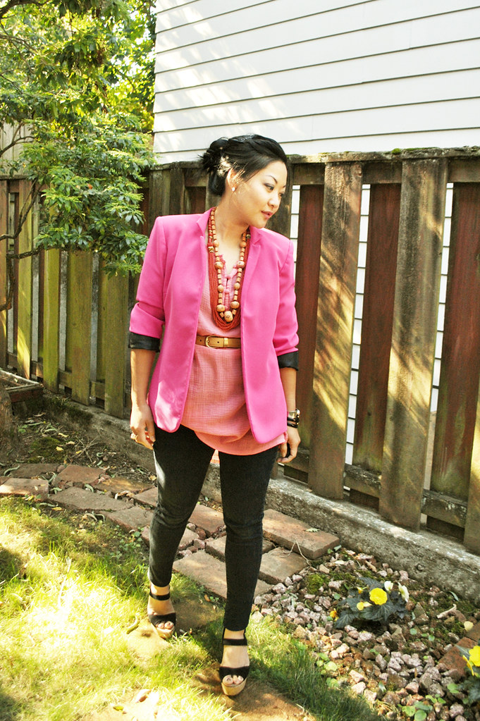 Outfit - Pink for Breast Cancer aWEARness - Pink Blazer - Coral Tunic - Black Skinny Jeans - Wedge Sandals