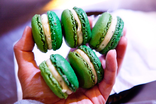 My stash of pea and mint-white chocolate ganache macaons from Pierre Hermé
