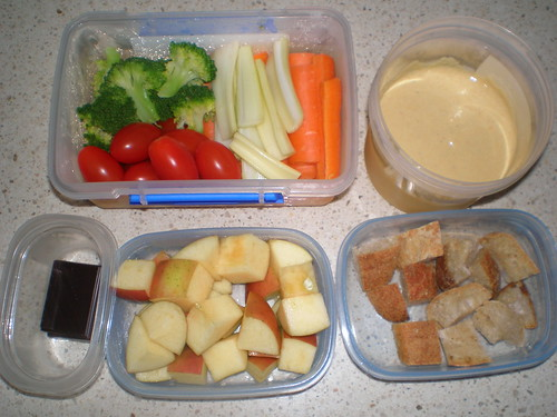 Lunch Box Fondue; Assorted Fondue Dippers; apple chunks; dark chocolate