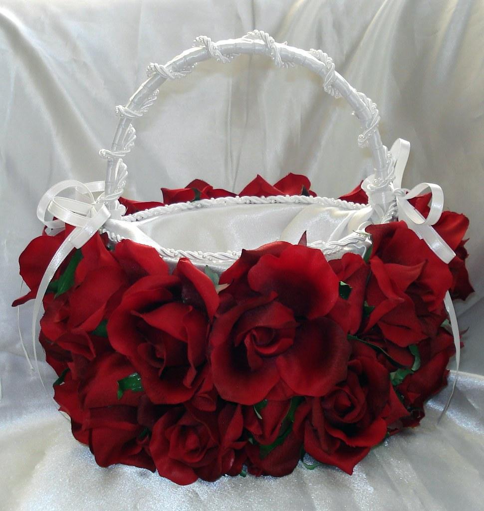 Red Rose Flower Girl Bridal Basket