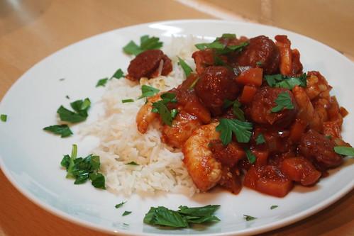 Spicy prawn and chorizo