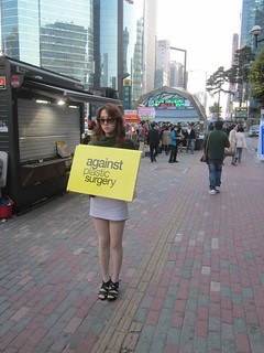 Seoul Korea lone protestor with English sign