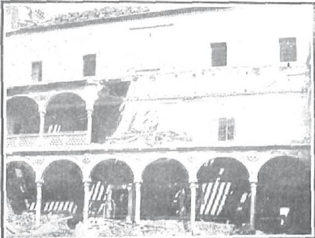Hundimiento en el Claustro del Hospital de Santa Cruz el 7 de septiembre de 1906. Foto Lucas Fraile para Nuevo Mundo