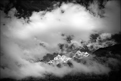 sunny peaks (heavenuphere) Tags: bw snow france mountains alps clouds alpes landscape peaks chamonix 1022mm montblanc massif hautesavoie rhnealpes chamonixmontblanc