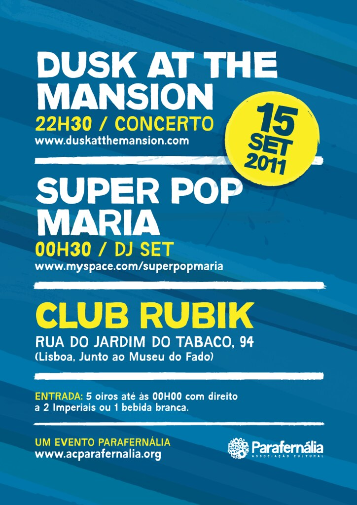 Dusk at the Mansion + Super Pop Maria: Live at Club Rubik (poster)