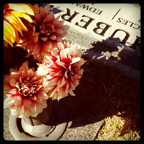 Today is my Grandmas birthday. I took her flowers. I miss her lots.