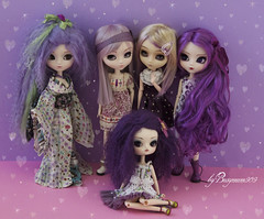 Girls love purple too (Valrie Busymum) Tags: hk doll acrylic purple dal mohair angry groove pullip akoya obitsu rewigged zuora rechipped celsiy