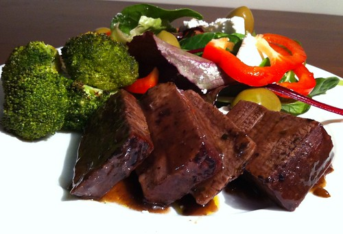 Slow-braised Beef with Roasted Broccoli by mjd-s