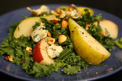 Red Clapp and Bartlett Pear Salad with Fourme d'Ambert, Toasted Hazelnuts, and Kale