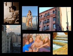 (babylaughter) Tags: friends jason collage portraits skyscrapers strangers streetphotography nancy fireescape downtownla bradburybuilding sheila mayra rooftopview babylaughter summer2010 summer2011 unionstationfountain
