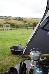 Getting dinner on (dark_dave25) Tags: camping wet wales shropshire swedish tent trangia trug